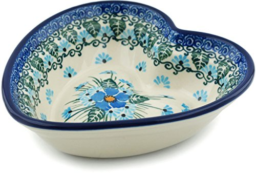 - Polish Pottery Heart Shaped Bowl 6-inch Forget Me Not made by Ceramika Artystyczna