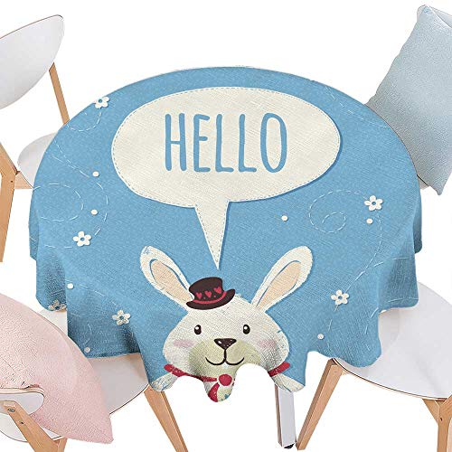 longbuyer Wrinkle Free Tablecloths Rabbit Illustration with Chat