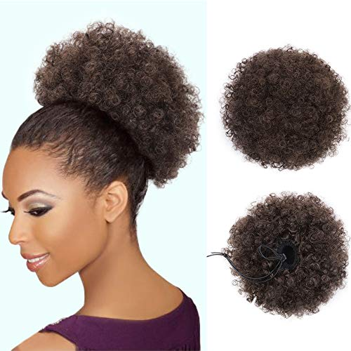 AISI QUEENS Synthetic Afro Puffs Drawstring Ponytail Bun Hairpieces Updo Hair Puff Short Kinky Curly Hair Large Size (Dark Brown-4#)