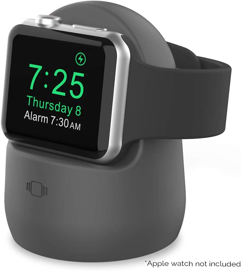 AhaStyle iWatch Charging Stand Silicone Dock for Apple Watch Series SE/6/5/4/3/2/1(44/42/40/38mm),Supports Nightstand Mode?Adapters NOT Included?(Dark Gray)