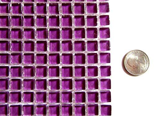 100 Mini Square Bright Purple Mosaic Tiles, Glass Mosaic Pieces, Ceramic Mosaic Tiles, Mosaic Art Supplies, Tile Mosaic Supply, Mosaic Craft Tiles, Broken Dish ()