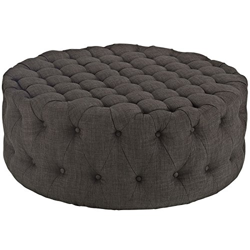Modway Amour Fabric Upholstered Button-Tufted Round Ottoman in Brown