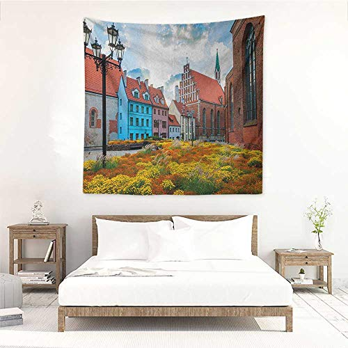 (Willsd Victorian DIY Tapestry Old City Riga Latvia Capital with Historical Buildings Medieval Town Image Print Stylish Minimalist Fresh Style 70W x 70L INCH Multicolor)