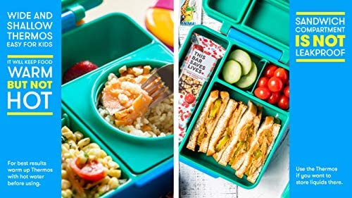 6f4729c2e35 ... OmieBox - 3 Compartment Bento Lunch Box + Thermos Food Jar for Kids -  Leak- ...