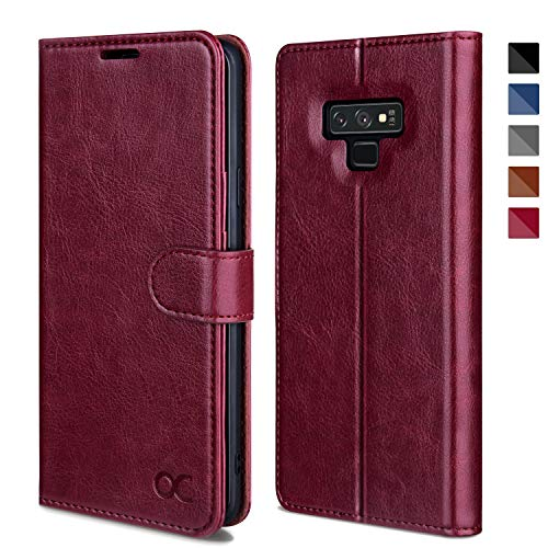 OCASE Galaxy Note 9 Case, Samsung Galaxy Note 9 Wallet Case [TPU Shockproof Interior Protective Case] [Card Slot] [Kickstand] [Magnetic Closure] Leather Flip Cover for Samsung Galaxy Note9 - Burgundy