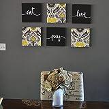 Black & Yellow Eat Pray Love Canvas Set