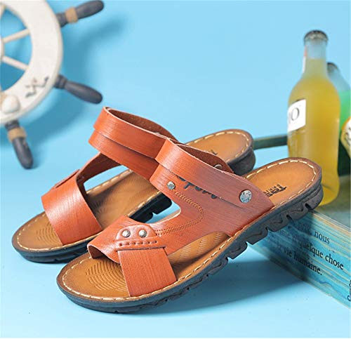All'aria EU Per Aperta Con Sportiva Wagsiyi Marrone Sandali Sport Da Marrone spiaggia Scarpe Da 39 da Uomo Pelle 3 In Esterno Dimensione pantofole Sandali Colore 1 7S7xP