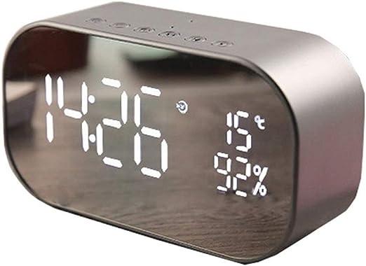 Huanhog Reloj Despertador Caja metálica de Alarma Espejo LED de ...