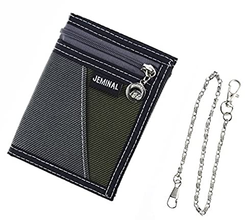 JEMINAL New Mens Grey Canvas Vertical Wallets Purse with chain - Nylon Chain