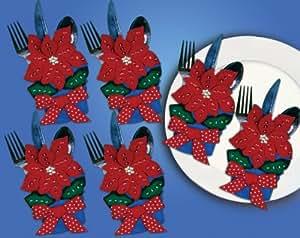 Design Works - Portacubiertos (fieltro), diseño de flor de pascua, multicolor