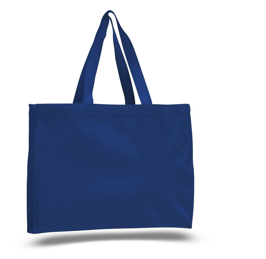 SHOPINUSA Buy Bulk, Everyday Shopping Heavy Canvas Cheap Tote Bags with Full Side and Bottom Gusset (24, Royal) by SHOPINUSA
