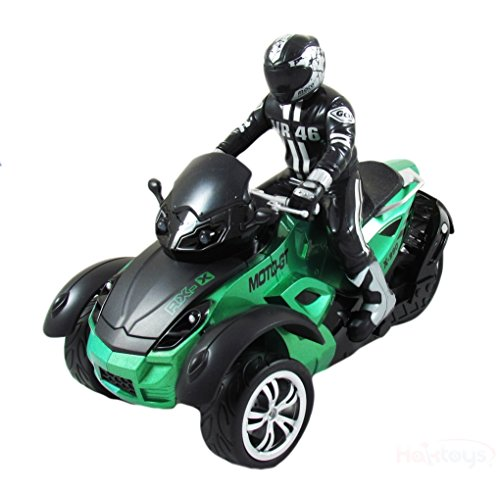 Speedy Racer (ATS MotoHawk Road Racer 1:10 Scale R/C ATV Motorcycle w/ LED Headlights - Green)