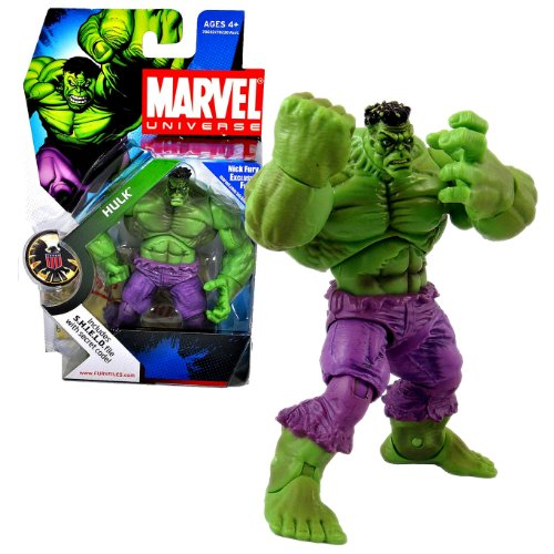 Hasbro Year 2008 Marvel Universe Series 1 Single Pack 4-1/2 Inch Tall Action Figure #13 - Green HULK with Bonus S.H.I.E.L.D File with Secret (Marvel Universe Green)