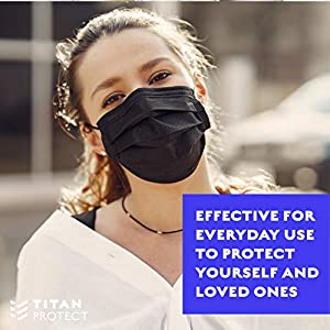 Class 1 Protective Face Masks - TITAN PROTECT Non Medical 3-Layer Disposable Face Mask, Filters >95% of Particles, Elastic Ear Loop, Adjustable & Comfortable - 50 PCs Bag (Black) (Color: Black, Tamaño: Bag of 50 Masks)