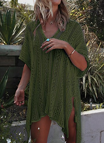 e8ade6b7c4c8 Jeasona Women s Bathing Suit Cover Up Beach Bikini Swimsuit Swimwear  Crochet Dress
