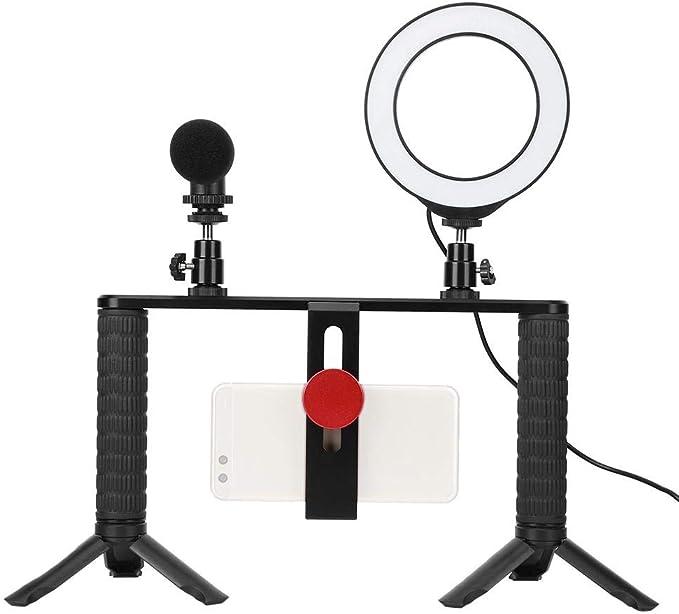 Jaula para cámara, trípode de jaula para conejos PULUZ, montaje de metal con micrófono de luz anular, con orificio de tornillo estándar de 1/4 pulgadas para extensión de varilla, estabilizadores, luz