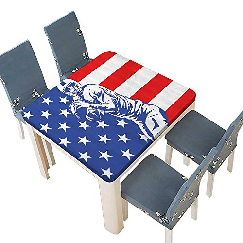 PINAFORE Decorative Tablecloth Ball Champiship Themed Player Throwing Ball USA Flag Background Assorted Size 33.5 x 33.5 INCH (Elastic Edge)