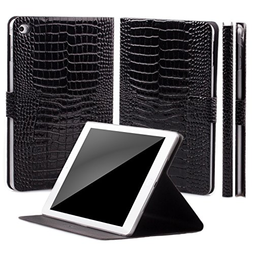 - iCues | Compatible with Apple iPad Mini 4 Case | 360° Rotating Stand | Crocodile Caiman Black | Manzano Cover | Other Leather - and Color Variations Available | Smart Wallet Flip Thin Ultra Slim