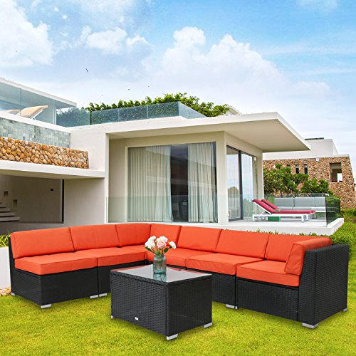 Kinbor 7 Pieces Garden Furniture PE Rattan Wicker Sofa Sectional Furniture Cushioned Deck Couch Set Inclined Backrest Orange (Garden Furniture Interest)