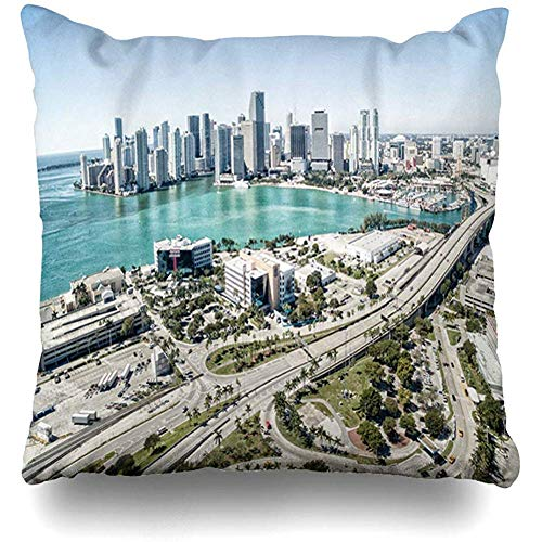 Throw Pillow Cover Cushion Case Square 18x18 Inch Skyscraper Blue America Awesome Aerial View Miami Skyline Rich Helicopter Above Parks American Bay Beach Home Decor