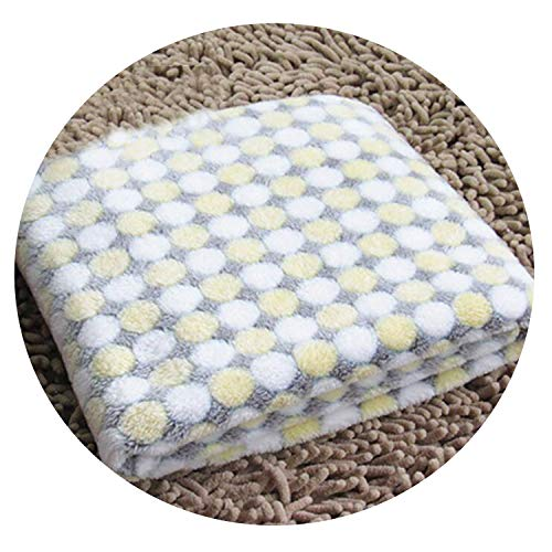 cola-site Soft Flannel Pet Dog Blanket Dots Printed Breathable Dog Cat Bed Mat Warm Pet Sleeping Cushion Cover for Pet Dog Cat Products,Beige,L