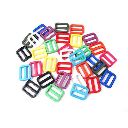 Webbing Plastic Triglides Slides Buckle FLC079 Mix-s 25mm 25pcs 1