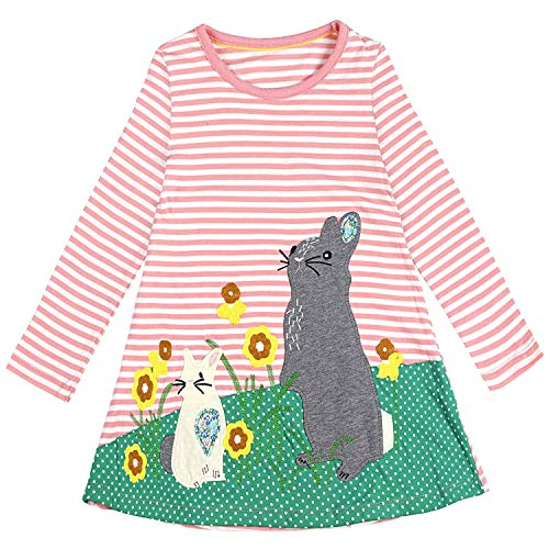 Little Girl Cotton Casual Striped Animal Long Sleeve