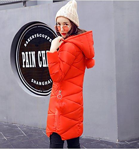Imbottito Invernale Cotone Di In Arancione Comvip Media Caldo Cappuccio Donne Giacca Lunghezza Con fwBzF5q