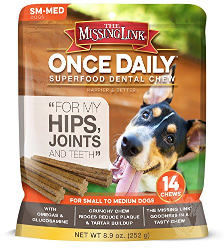 The Missing Link Once Daily All Natural Omega Dental Chew - Hips, Joints & Teeth - SMALL/MED Dog -...