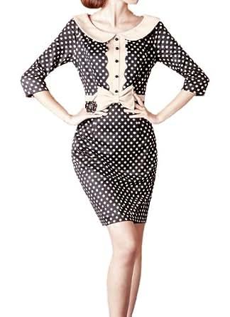 Purpura Erizo Womens Polka-Dot Bow Waist Pencil Dress, XX-Large, Black