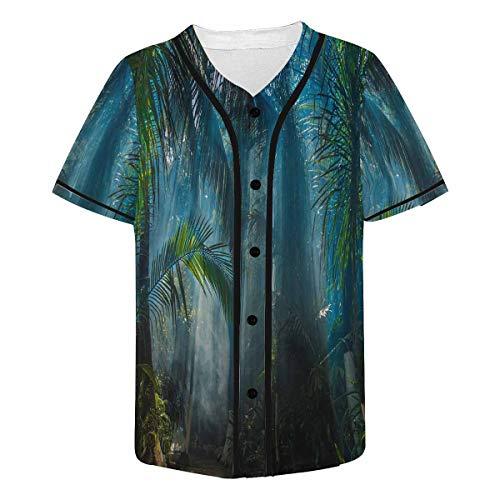 InterestPrint Men's Morning Light in Beautiful Jungle Garden Baseball Jersey Button Down T Shirts Plain Short Sleeve M