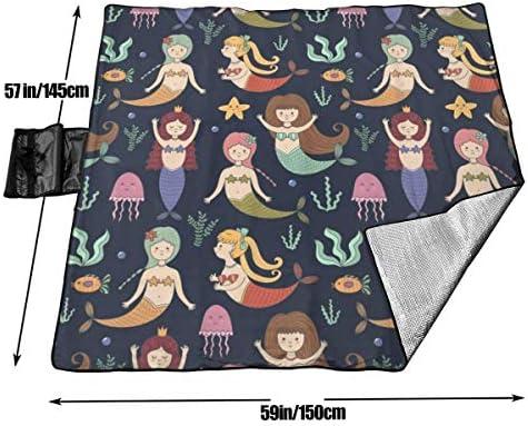 Grande Coperta da Picnic all'aperto Happy Mermaid Swimming Art Sandproof Beach Mat Tote per Campeggio Escursionismo Erba Viaggiare