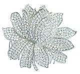 Sindary Wedding Headpiece 3.54'' Water Lily Bridal Hair Comb Silver Tone Clear Rhinestone Crystal HZ4784