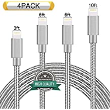 Youer Lightning Cable 4Pack 3FT 6FT 6FT 10FT Nylon Braided Certified iPhone Cable USB Cord Charging Charger for Apple iPhone 8, X, 7, 7 Plus, 6, 6s, 6+, 5, 5c, 5s, SE, iPad, iPod Nano, Touch (Grey)