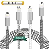 Youer Lightning Cable 4Pack 3FT 6FT 6FT 10FT Nylon Braided Certified iPhone Cable USB Cord Charging Charger for Apple iPhone 8, X, 7, 7 Plus, 6, 6s, 6+, 5, 5c, 5s, SE, iPad, iPod Nano, Touch (Gray)