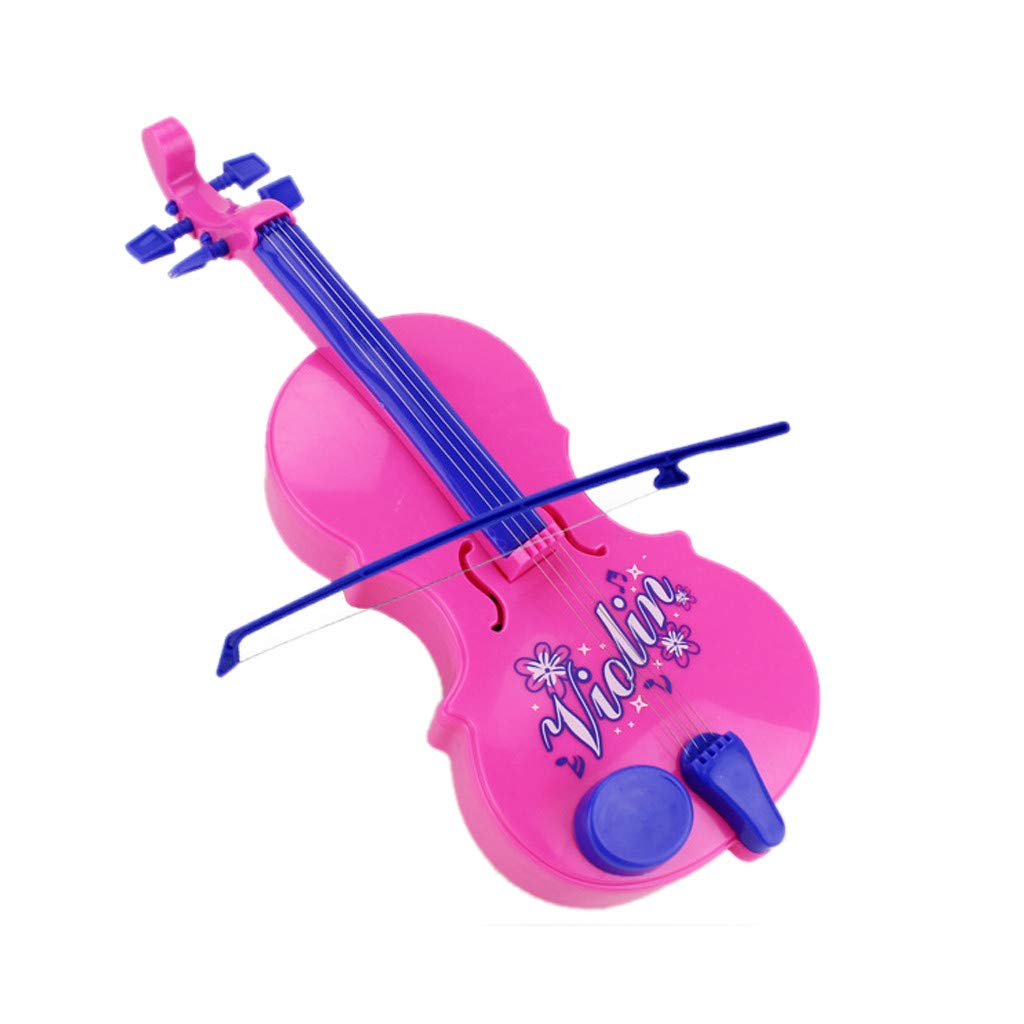 callm Violin Toy 4 Strings Music Electric Violin Kids Musical Instruments Educational Toy - 8 Kinds of Wonderful Music Sounds (Pink)