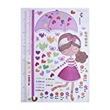 Kids Height Measurement Growth Chart Wall Stickers Removable Art Decals Umbrella Wall Decorative for Girls Kid's Bedroom