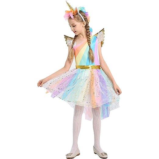 fff7b32dc6c6a Girl's Rainbow Unicorn Costume Halloween Party Tutu Dress with Wing  Headband ...