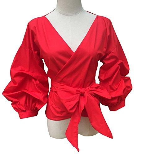MASCHERANO Women Summer Puff Sleeve Blouse with Belt V Neck Shirt Tops Formal Clothing,Red,XL