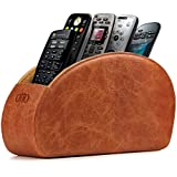 OTTO Leather Remote Controller Holder Organizer Store DVD Blu-ray TV Roku or Apple TV Remotes - Italian Genuine Leather with Suede Lining Living or Bedroom Storage (OTTO148)