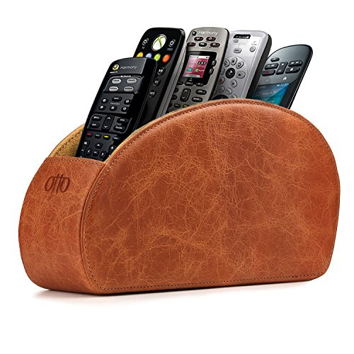 Otto Remote Control Holder with 5 Pockets - Store DVD, Blu-Ray, TV, Roku or Apple TV Remotes - Italian Genuine Leather with Suede Lining - Slim, Compact Living or Bedroom Storage - Brown