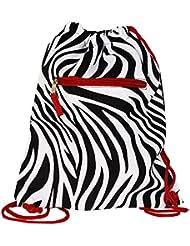 World Traveler 15 Inch Drawstring Backpack Bag, Red Trim Zebra, One Size