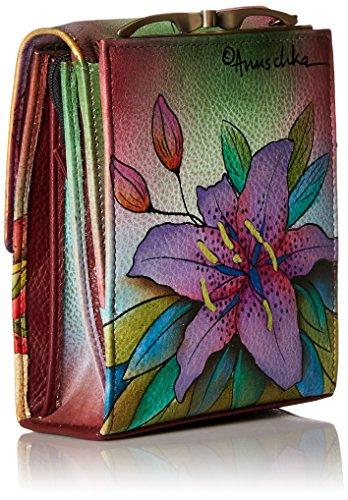 Anuschka handbemalte Ledertasche, Schultertasche für Damen, Geschenk für Frauen, Handgefertigte Tasche mit Fach - Mini Umhängetasche organiser (Luscious Lilies 412 LLY)