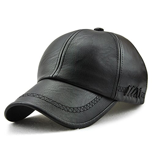 Ueither Men's Baseball Cap Vintage Adjustable Leather Hats with Snapback