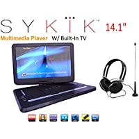 Sykik SYDVD9113 TV 14.1 Inch All multi region zone free HD swivel portable dvd player With Digital TV Atsc Tuner,USB,SD card slot with headphones, adaptor, car adaptor Remote control