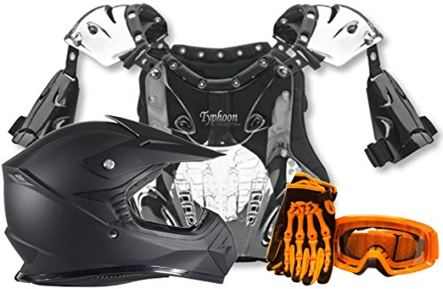Atv Chest Protector (Kids Youth Offroad Helmet Gloves Goggles and Chest Protector GEAR COMBO - Orange, Matte Black (XL))