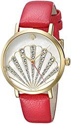 kate spade new york Women's 1YRU0760 Metro Gold-Tone Watch with Red Leather Band