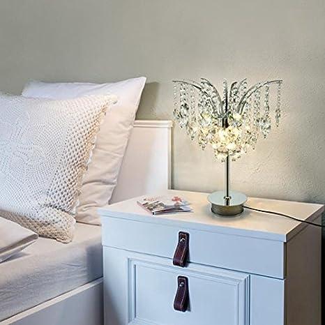 lámpara de escritorio Lámpara de mesa de cristal de dormitorio ...