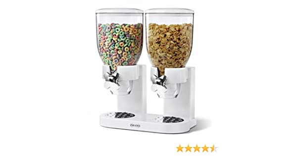 Zevro PROZ - Dispensador doble plástico Classic seco dispensador de alimentos doble, diseño acanalado, color blanco/transparente: Amazon.es: Hogar