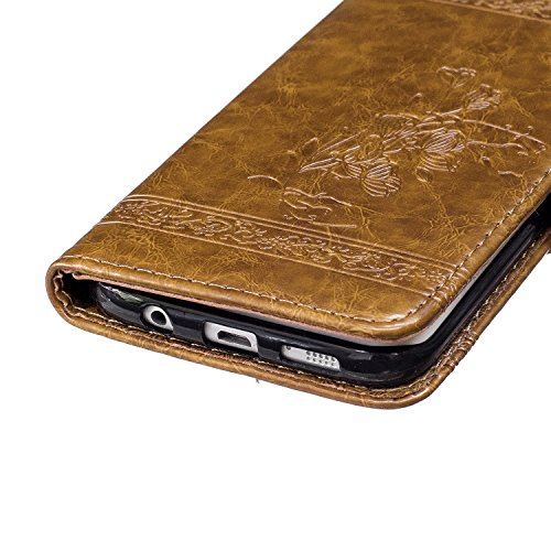 Galaxy S7 Edge Case, BONROY Premium Soft PU Leather Crystal Bling Wallet Case Pretty Girl Pattern Design Back Case Cover with [Kickstand] Stand Function Card Holder and ID Slot Slim Flip Protective Sk brown